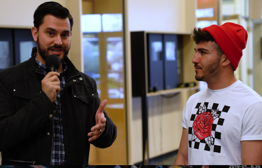 Reporter+Carlos+Alfaro+interviewing+SCC+student+