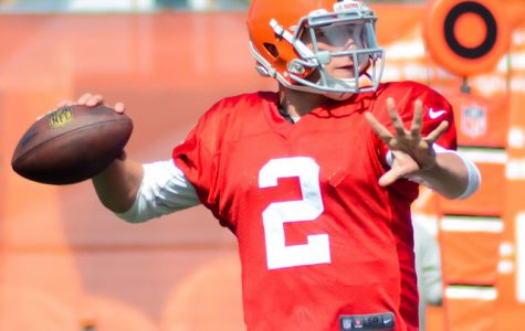 Manziel at Browns training camp in 2014