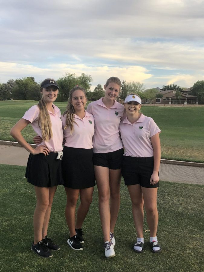 SCC Women's golf team. Left to right Jocelynn Adamson, Alana Hackett, Taylor Berthusen, Breanna Cobb.