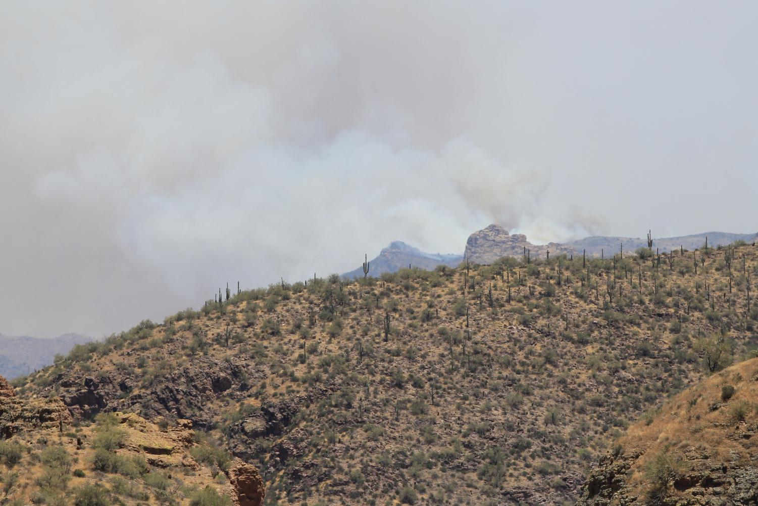 The Woodbury fire on Friday as seen from above Tortilla Flats