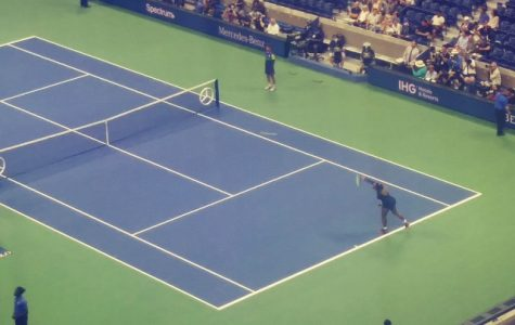 Serena Williams serving during 2019 US Open