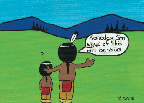 Ricardo Caté of Santo Domingo Pueblo, New Mexico, Native American cartoonist shares his painting with NorthEast Valley News.