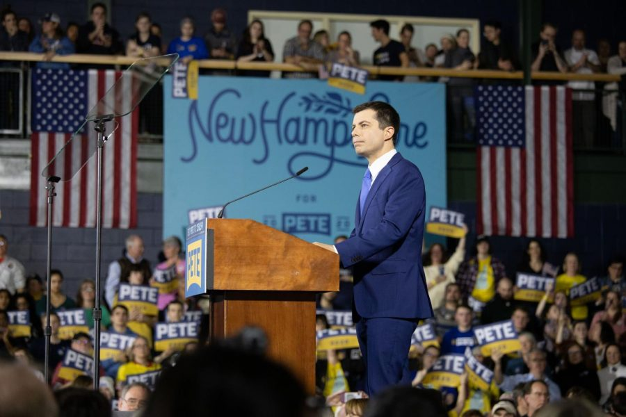 Pete Buttigieg addressing crowd at New Hampshire primary