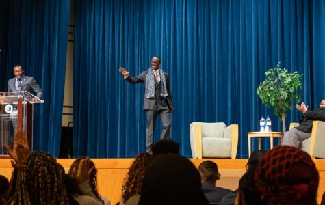 Dr. Yusef Salaam speaking at Phoenix college