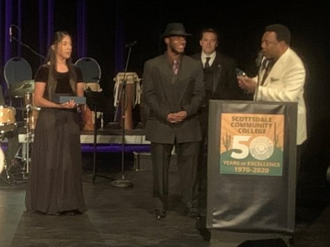 George Benson (far right) with scholarship winner Karen Wright (left) and honorable mention Shontionn Pridgon (center).  Music Department Co-Chair Adam Stich (background)