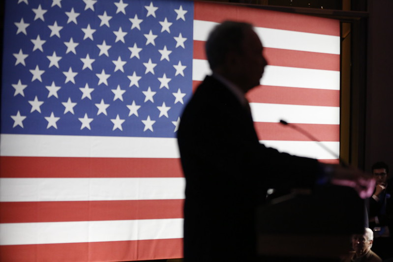 Democratic Candidate, Mike Bloomberg at his first debate in Nevada