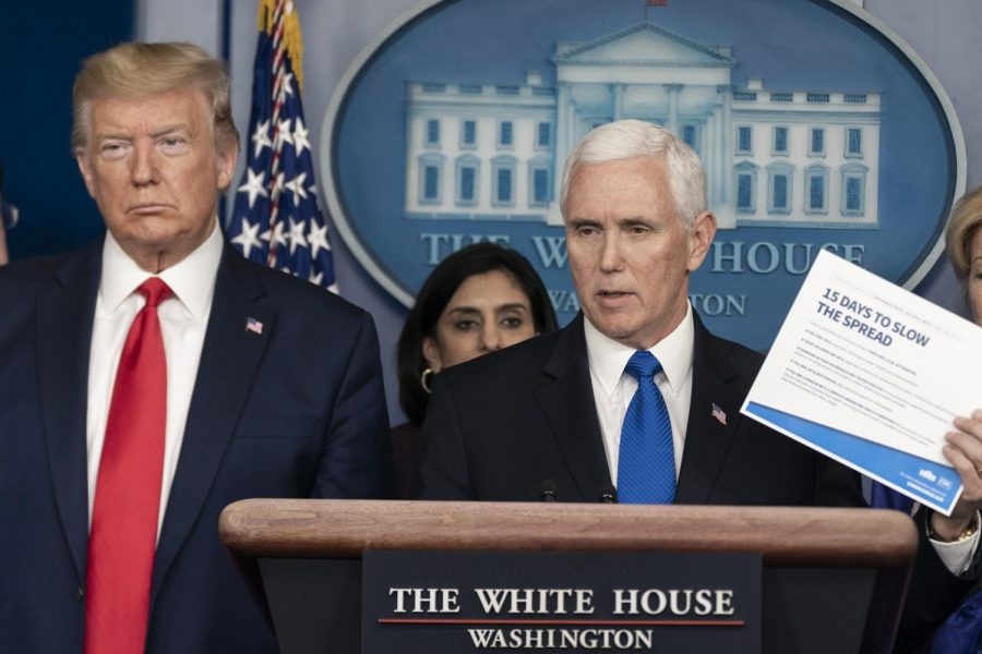 President Donald J. Trump joins Vice President Mike Pence as he addresses his remarks at a coronavirus (COVID-19) update briefing Wednesday, March 18, 2020, in the James S. Brady Press Briefing Room of the White House.