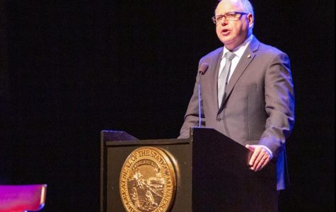 Governor Tim Walz speaking at the Fitzgerald Theater after being sworn in as Minnesota's 41st governor, St Paul MN