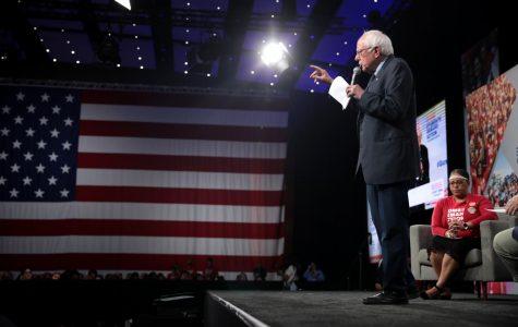 U.S. Senator Bernie Sanders speaking with attendees at the Presidential Gun Sense Forum
