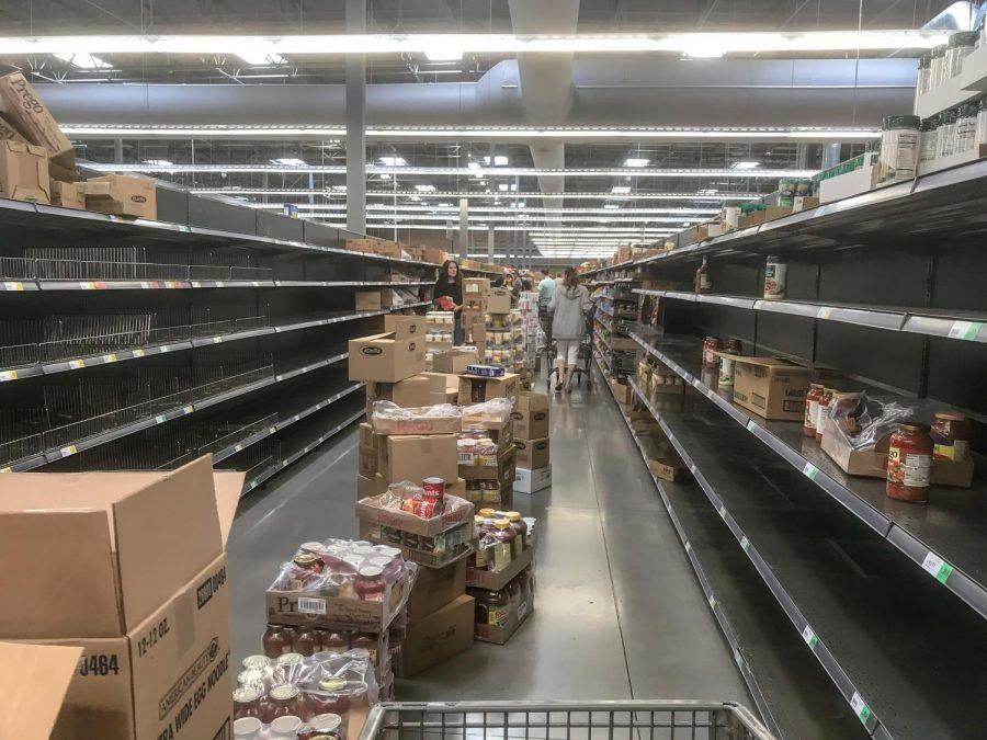 Empty store shelves at Winco in Gilbert, Arizona
