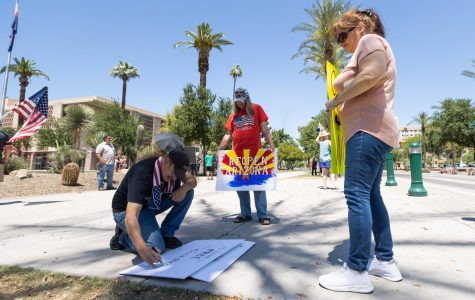 Protestors gather at the Phoenix State Capital to Reopen Arizona