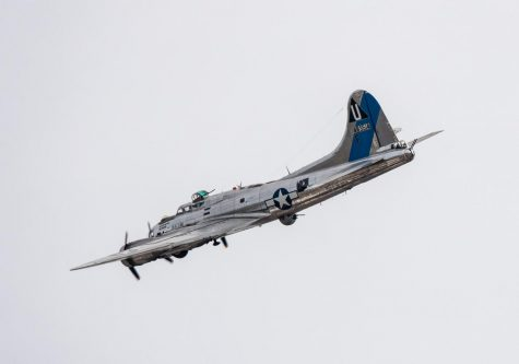 "B-17 Flying Fortress ""Sentimental Journey"" flys over Arizona State Capitol on Dec. 7, 2019."