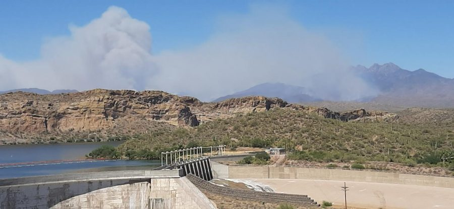 The Bush Fire continues to grow.  Stewart Mountain Dam in foreground.