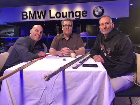 Sports broadcaster Todd Walsh joins the show.  Pictured with Coyotes Coach Rick Tocchet and D-Backs Manager Tory Lovullo left to right in a prepandemic interview.