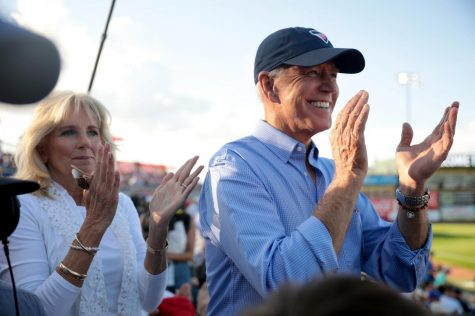 Former Second Lady of the United States Jill Biden and former Vice President of the United States Joe Biden at a past Fourth of July Iowa Cubs game in Des Moines.