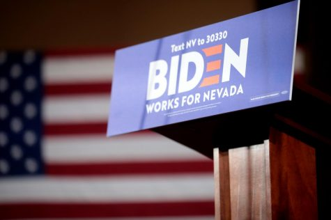 Podium for former Vice President of the United States Joe Biden at a community event at Sun City MacDonald Ranch in Henderson, Nevada.