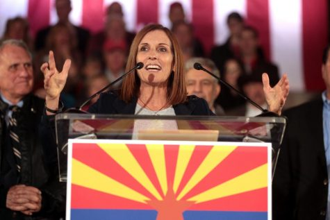 U.S. Congresswoman Martha McSally speaking with supporters at the 2018 election eve rally hosted by the Arizona Republican Party at the Yavapai County Courthouse in Prescott, Arizona.