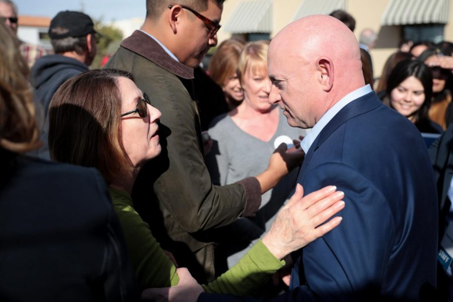 Mark Kelly with supporters at a Phoenix rally in early 2020