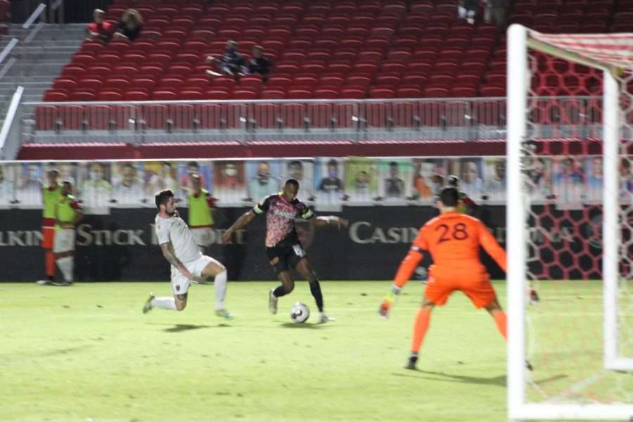 Rising goalkeeper Zac Lubin defends his goal against Las Vegas Lights Friday night