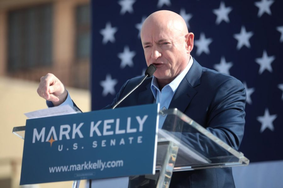 U.S. Senate candidate Mark Kelly speaks to supporters in Phoenix in Feb. 2019