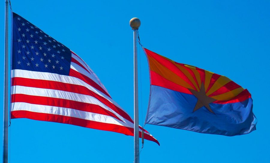 Wesley Bolin Plaza Phoenix AZ USA 52743 USA and Arizona Flags