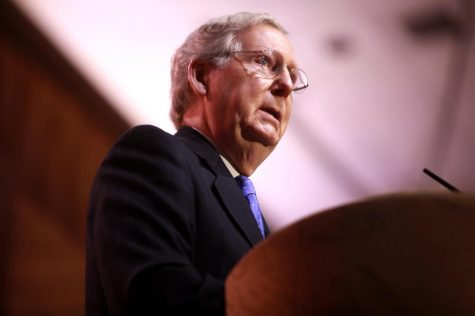 Senator Mitch McConnell of Kentucky speaking at the 2014 Conservative Political Action Conference (CPAC) in National Harbor, Maryland.
