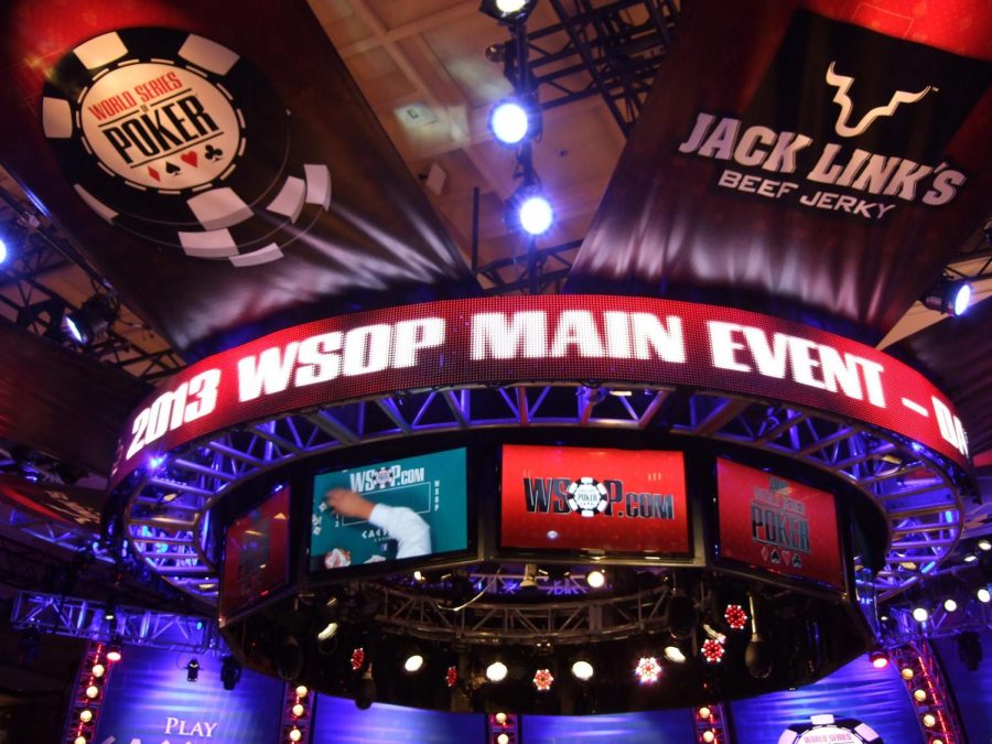 The display above a past main event final table