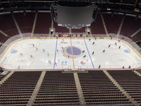 The Coyotes, pictured during a January 2021 scrimmage, will have a new-look roster once the puck drops next season.