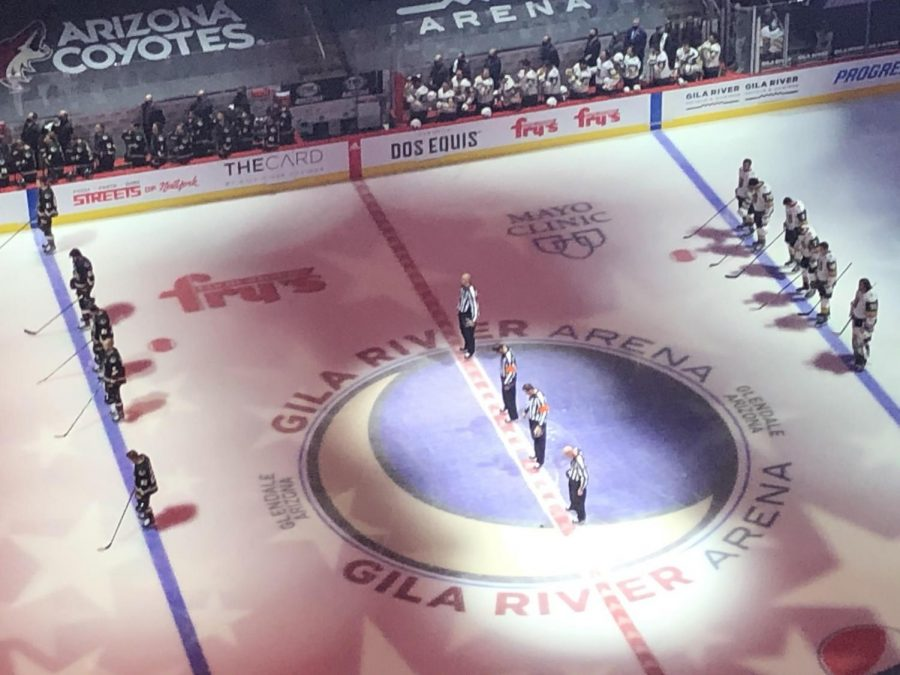 The+Coyotes+and+Golden+Knights+during+the+National+Anthem.
