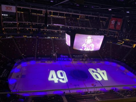 Pre-Game Celebration of Leighton Accardo by the Arizona Coyotes.