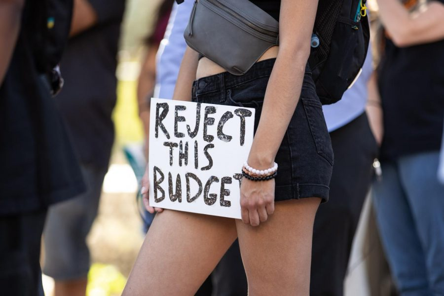 """Reject this Budget"" sign in response to Phoenix city budget hearings"