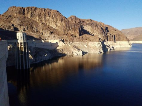 A 2020 photo of the front of Hoover Dam which forms Lake Mead