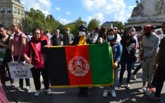 Sept. 5: Demonstrators in Paris, France hold up an Afghan flag in solidarity with the countrys women and its refugees following the Taliban takeover.