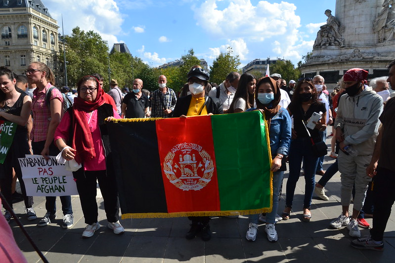 Sept. 5: Demonstrators in Paris, France hold up an Afghan flag in solidarity with the country's women and its refugees following the Taliban takeover.